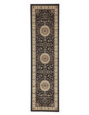 Sydney Medallion Runner Black With Ivory Border Runner Rug