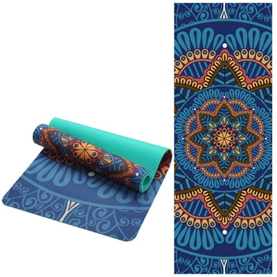 6 MM Lotus Pattern Suede TPE Yoga Mat