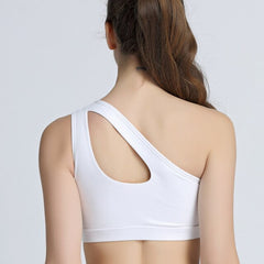 Sexy One Shoulder Solid Sports Bra