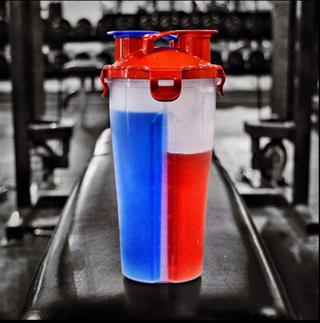 Dual Protein Powder Shaker Bottle