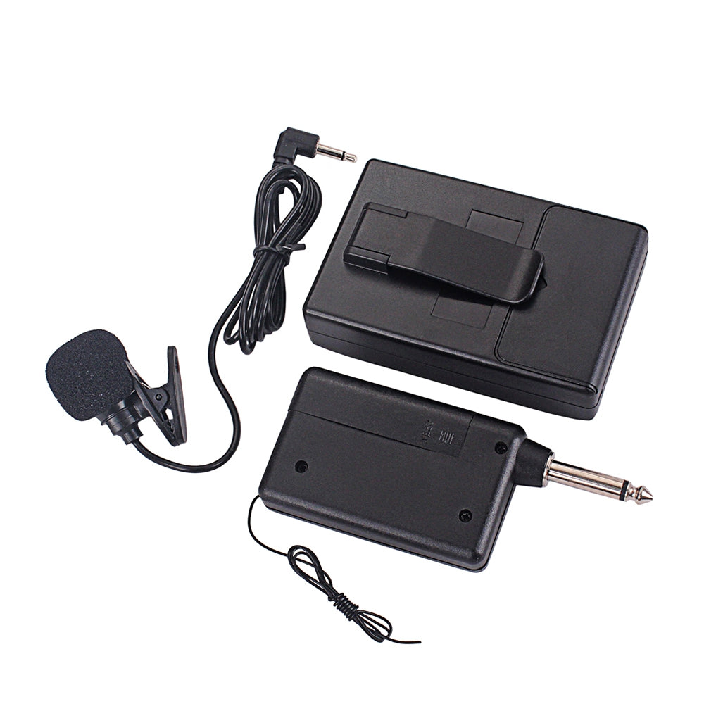 Wireless FM Transmitter Receiver Lapel Clip Mic System Clip-on Microphone