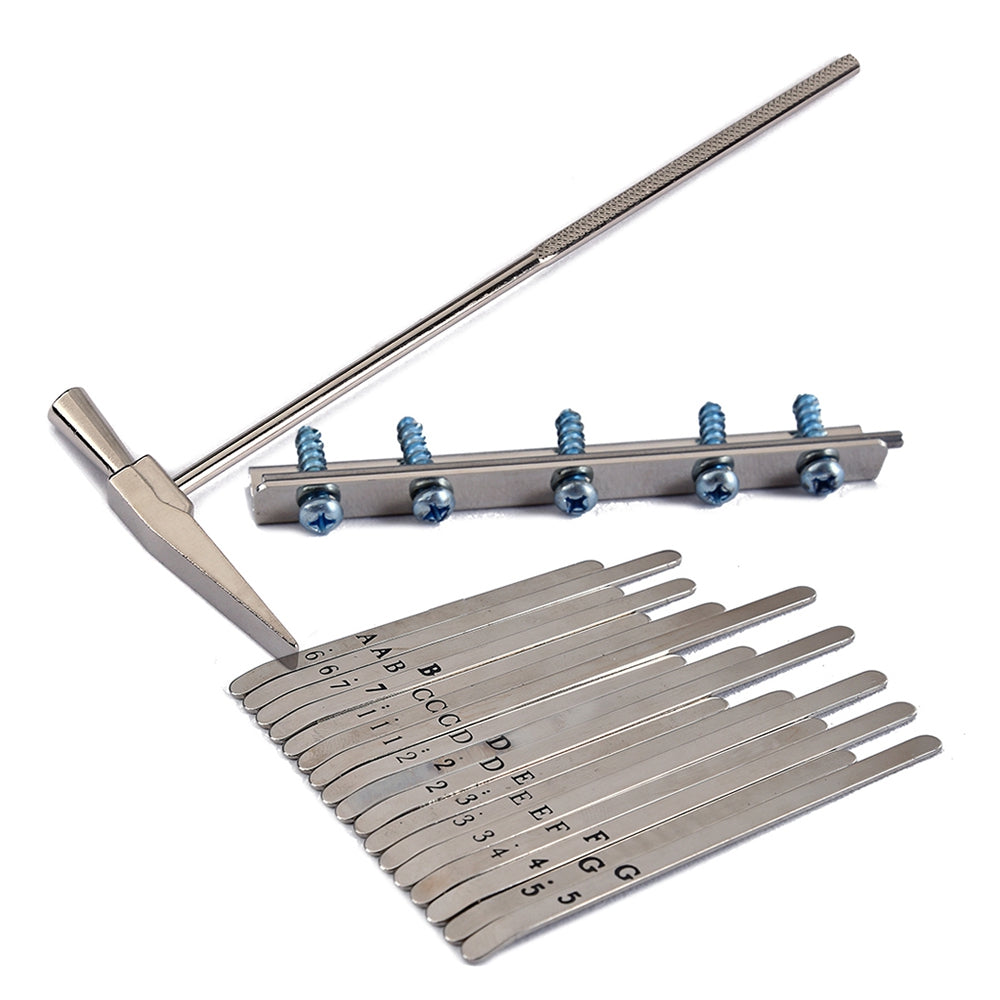 Musical Steel Keys and Tuner Hammer for 17 Note Kalimba Thumb Piano