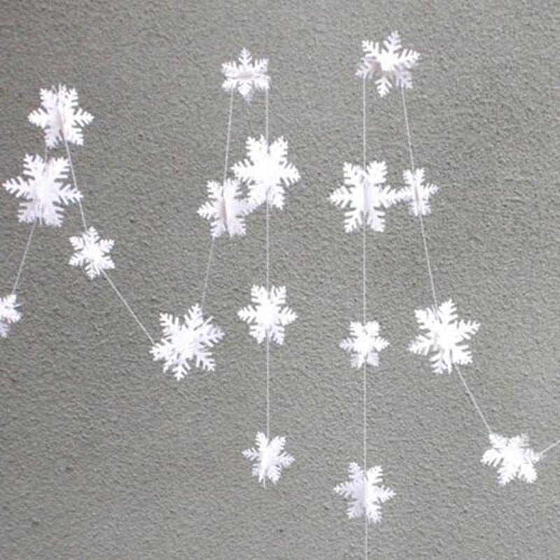 12pcs 3D Snowflake Strings Cardboard Paper Hanging Decorations for Wedding Chris
