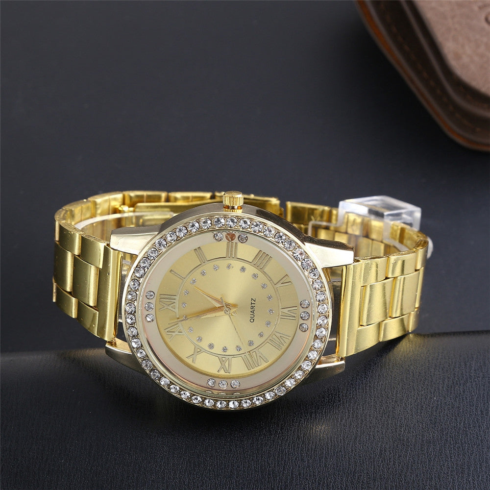 Diamond Roman Scale Stainless Steel Quartz Men Watch