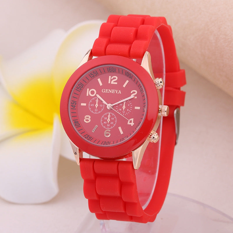 Geneva Casual Fashion Silicone Band Women Quartz Watch
