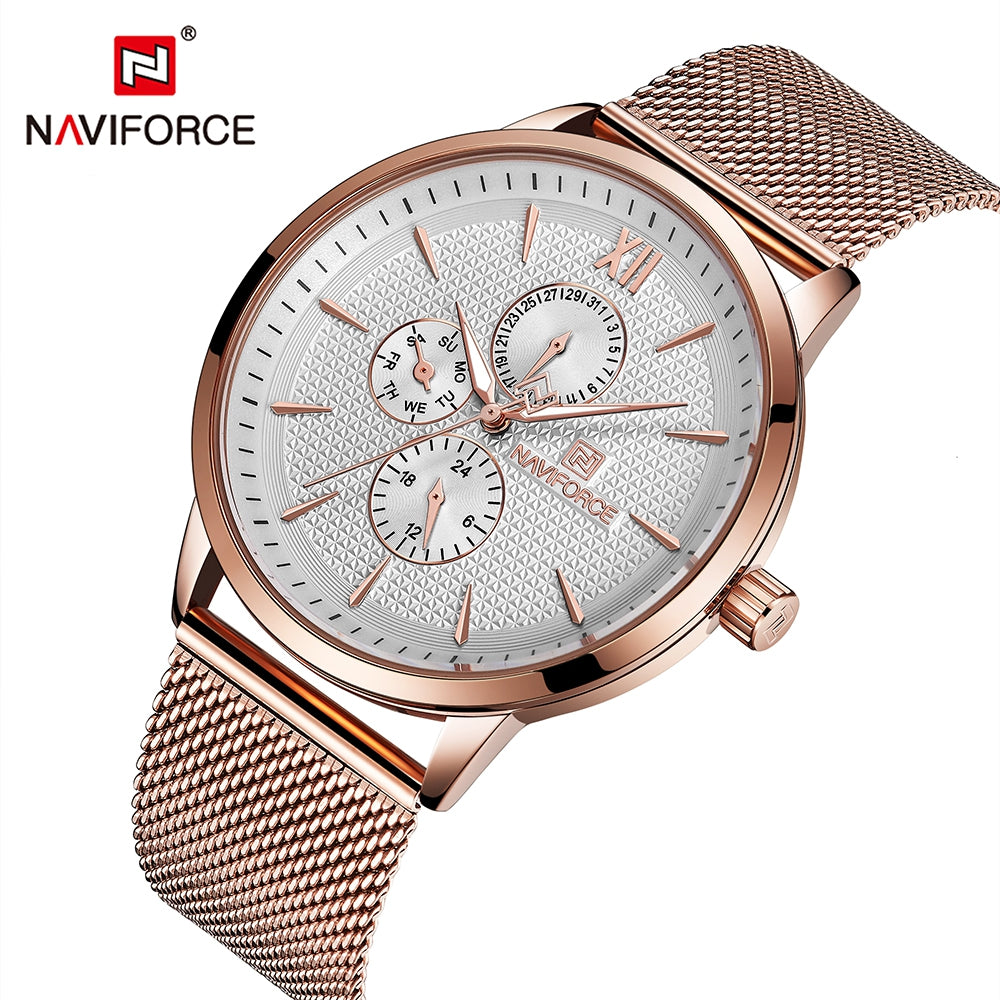 NAVIFORCE Mesh Belt Six Pin Quartz Waterproof Strap Men's Watches