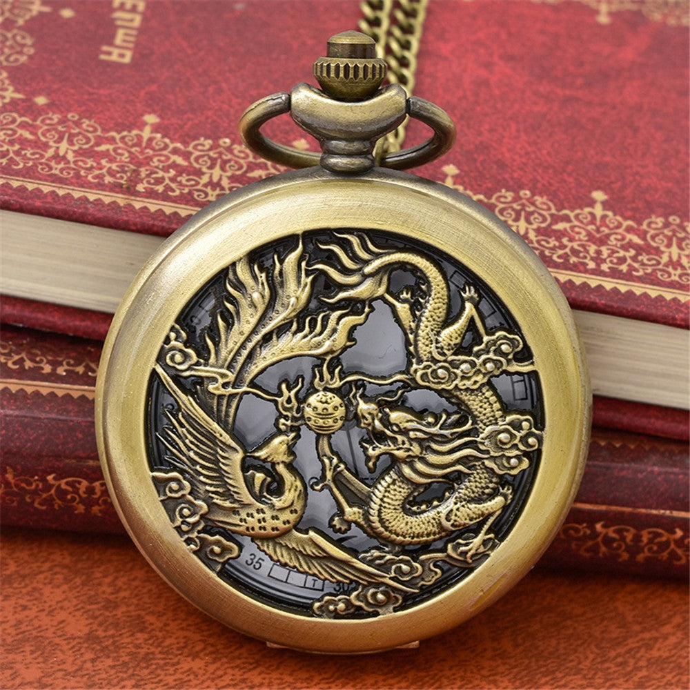 Dragon Phoenix Bronze Flip Hollow Quartz Watch