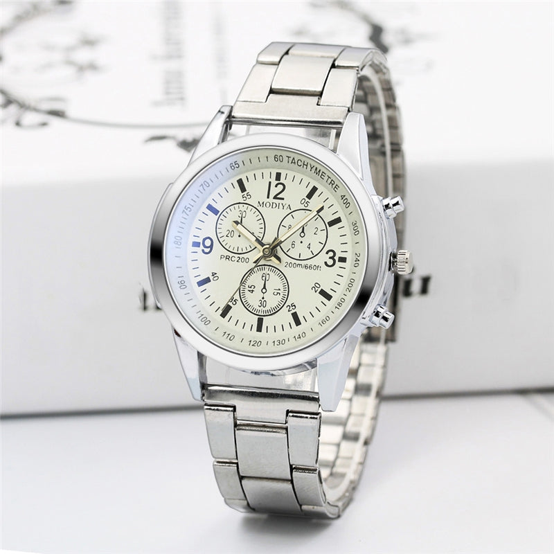 Luxury Stainless Steel Band Fashion Men Sport Watch Quartz Hour Wrist Analog
