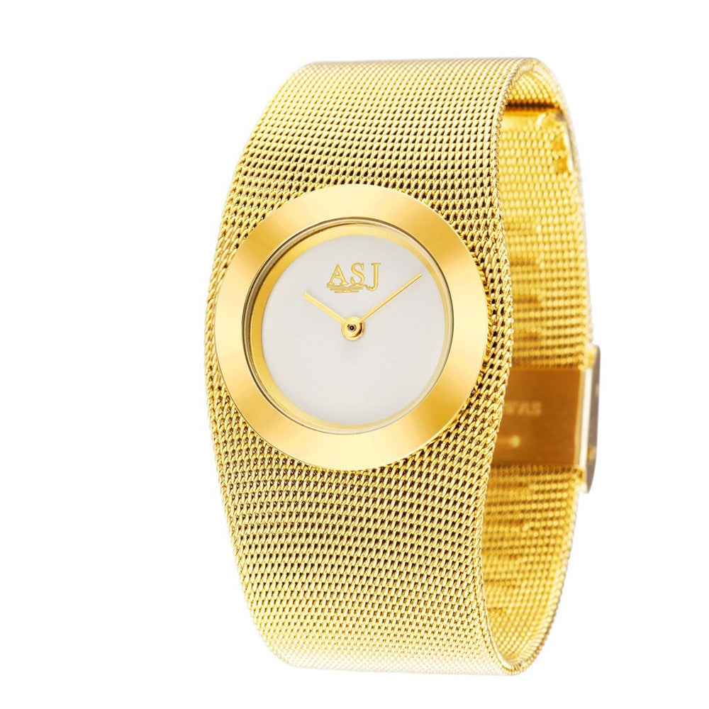 ASJ Fashion Gold Mesh Steel Luxury Bracelet Women Dress Quartz Watch