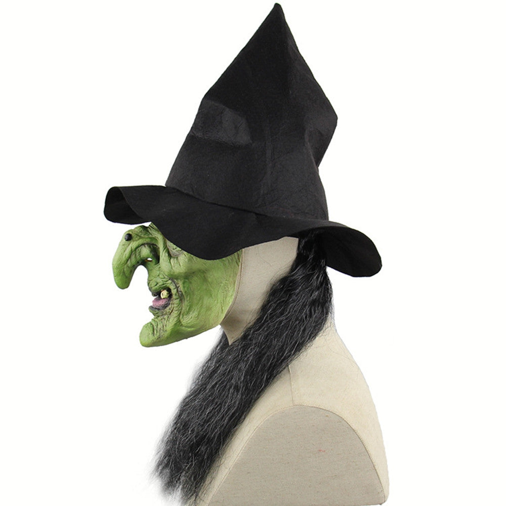 Halloween Mask Horrible Witch Head Latex Costume for Party Prop