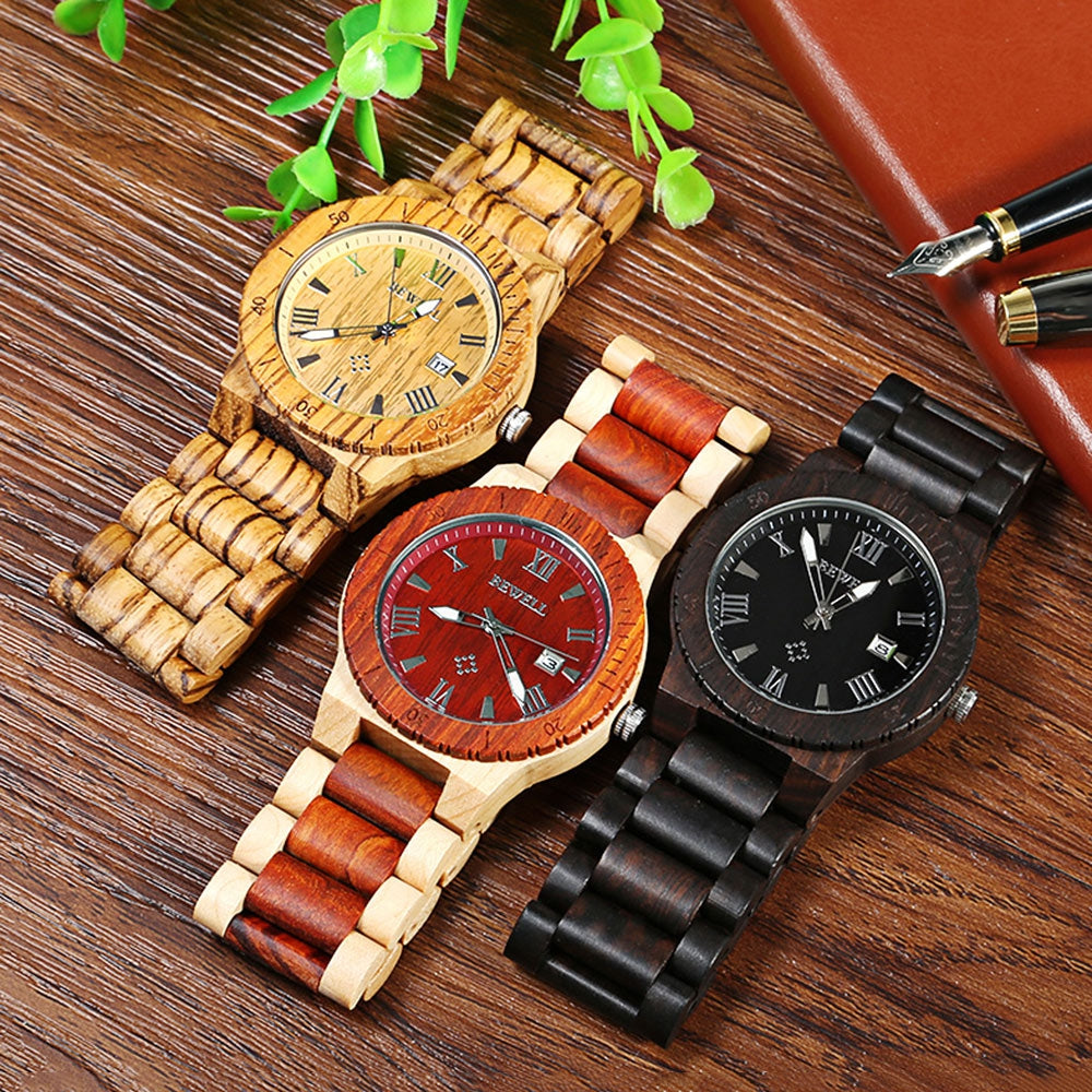 Bewell ZS - W109B Wood Men Watch Luminous Pointer Wooden Band Date Wristwatch