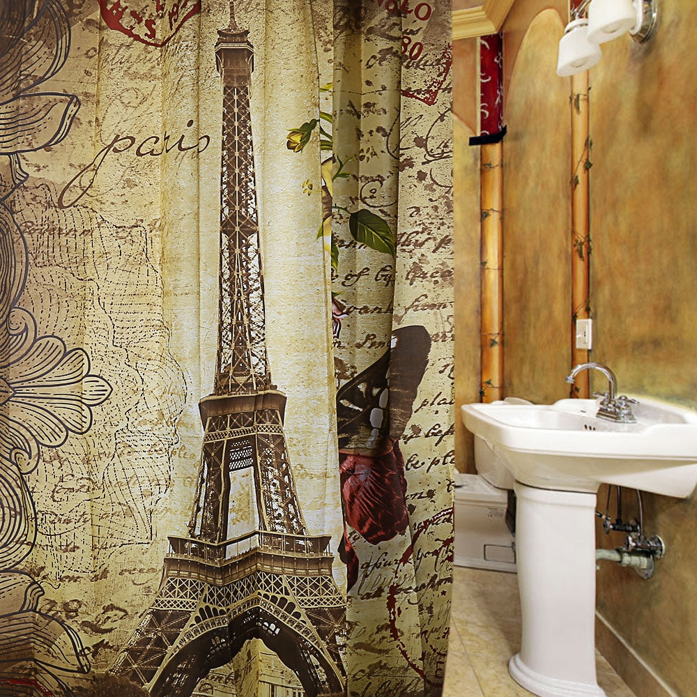 Retro Vintage Paris Eiffel Tower Brown Butterfly Design Pattern Waterproof Polyester Bath Curtain with 12 Plastic Buckles