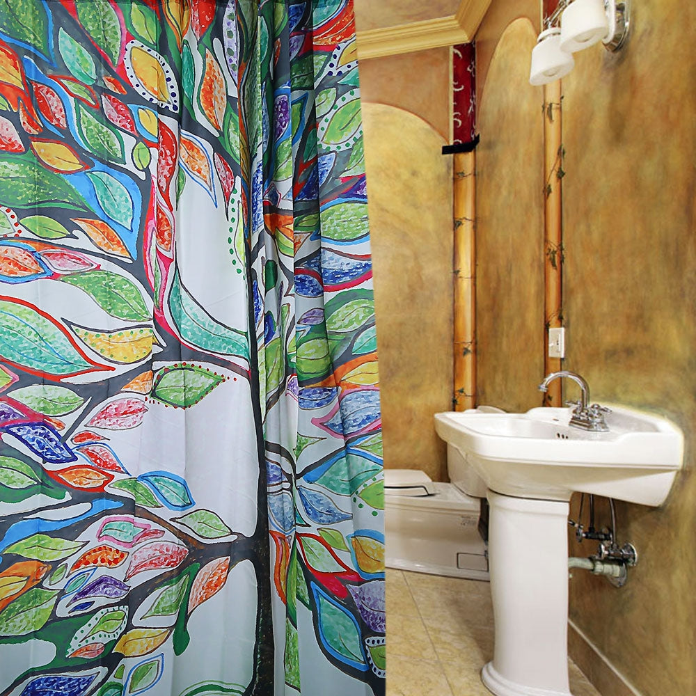 Colorful Tree Design Pattern Waterproof Polyester Bath Curtain with 12 Plastic Buckles