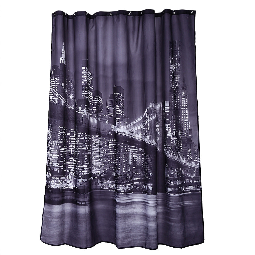 City Night View Pattern Waterproof Bathing Shower Curtain Polyester Bathroom Decor
