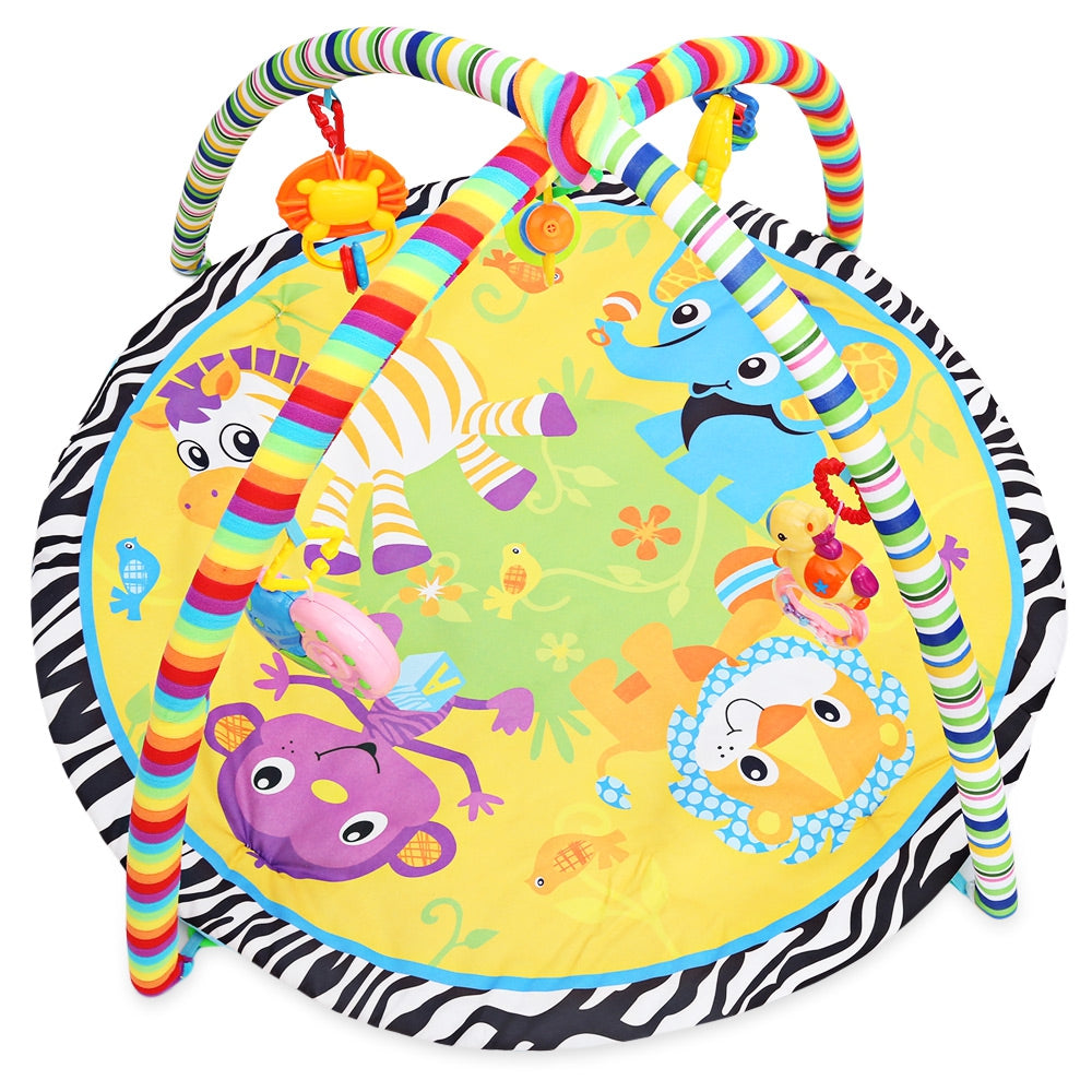 Baby Mat Cartoon Animal Gym Fitness Blanket with Frame Rattle Crawling Developmental Toy