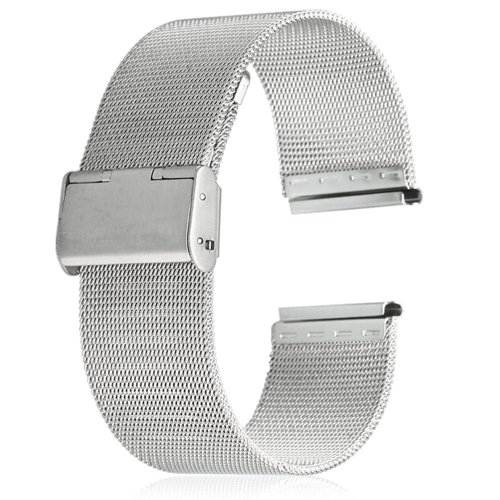 18mm Men Women Stainless Steel Mesh Watch Strap Folding Clasp with Safety Bracelet