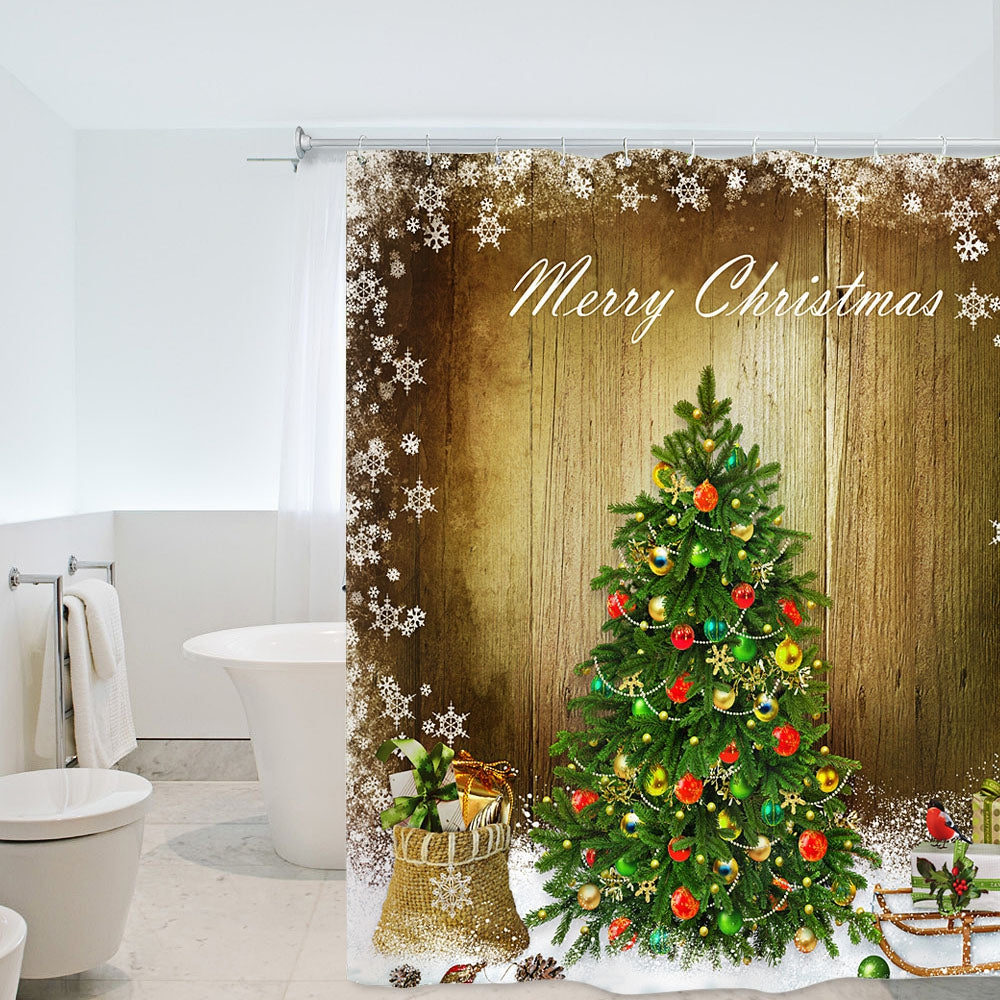 Christmas Snow Tree Waterproof Shower Curtain 180 x 180cm