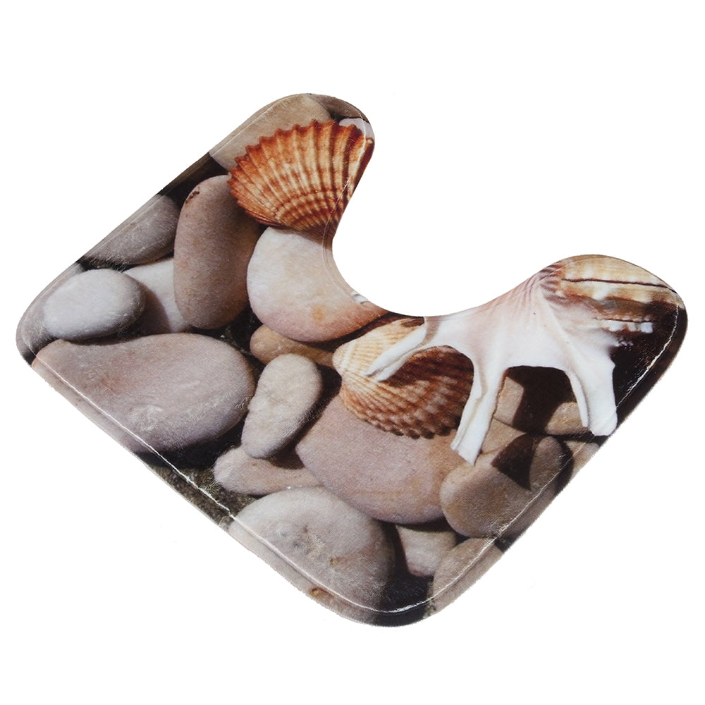 Starfish Shell Pattern 3pcs Bath Mat Toilet Mat