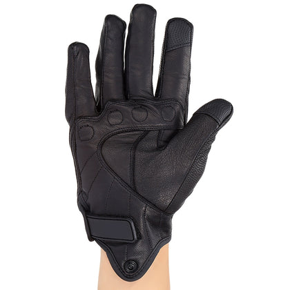 NQ - 001 Motorcycle Goatskin Leather Gloves Full Finger Touch Screen