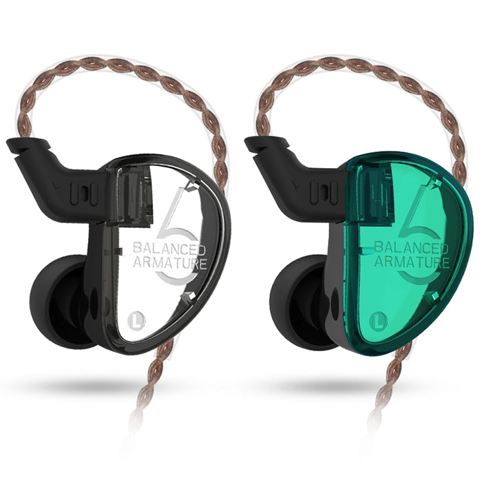 KZ AS06 In-ear Stereo Earphones 3BA Balanced Armature Driver Noise Cancelling HiFi BassEarbuds