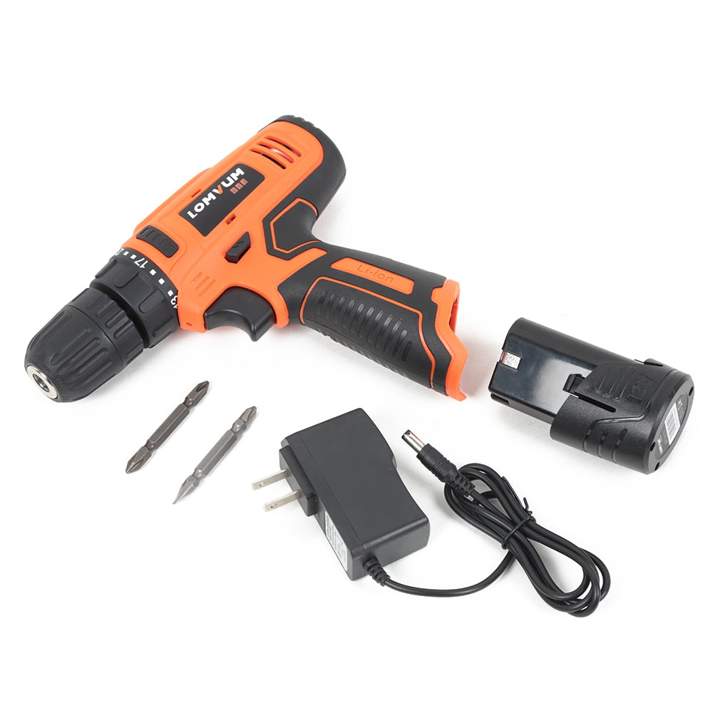 Lomvum 12V Two-speed Rechargeable Cordless Electric Drill Mini Multifunctional Tool