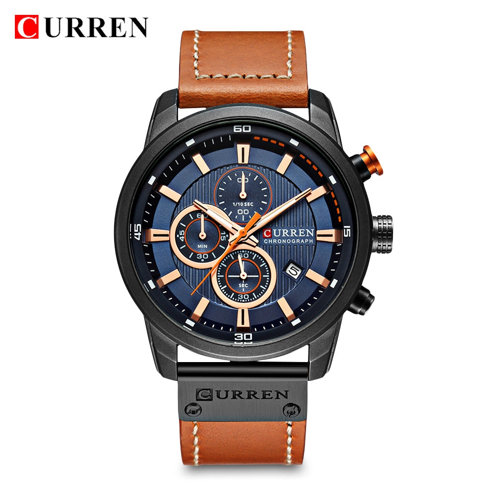Curren 8291 Male Quartz Watch Leather Strap Business Wristwatch