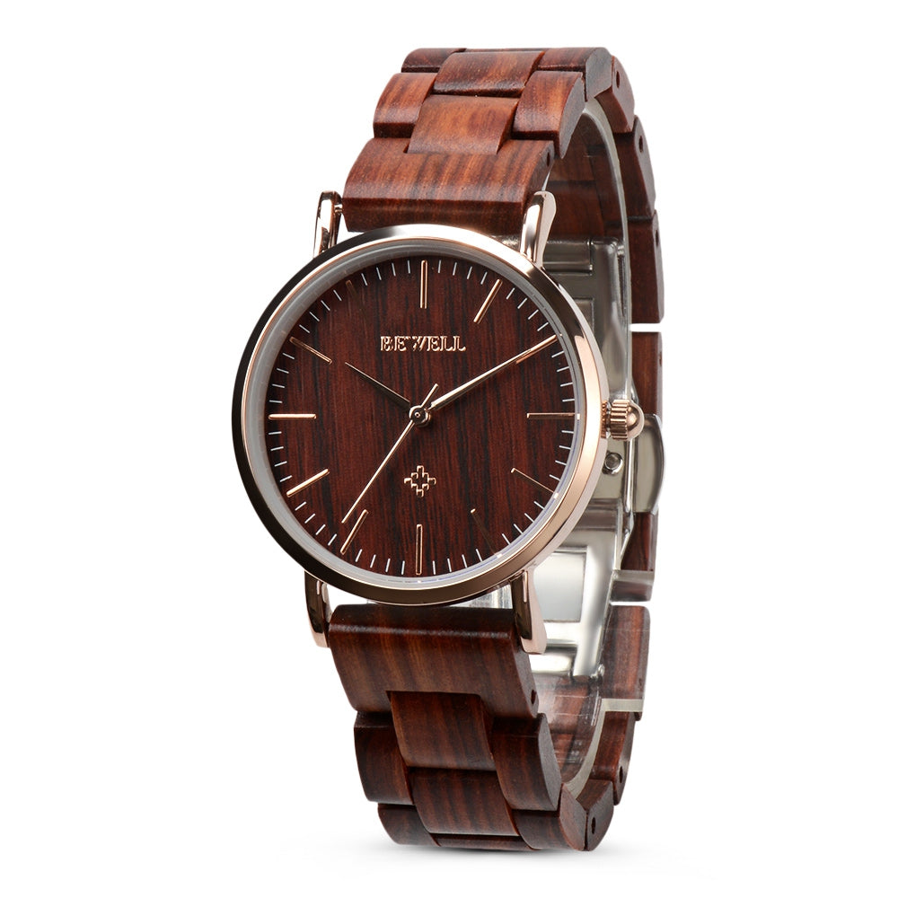 BEWELL ZS - W163AL Female Quartz Watch Ultra Thin Water Resistant Red Sandal Wood