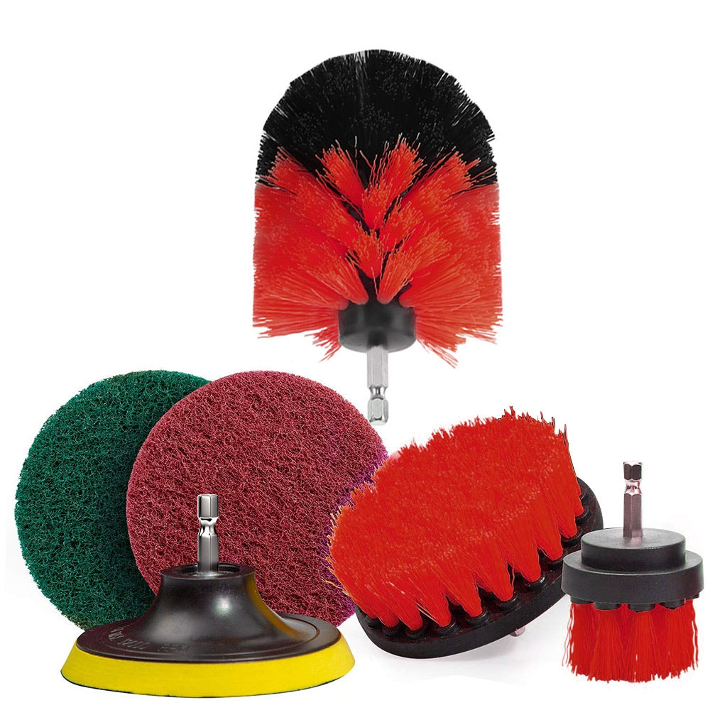 6pcs Drill Brush Scouring Pad Attachments for Bathroom Kitchen Cleaning