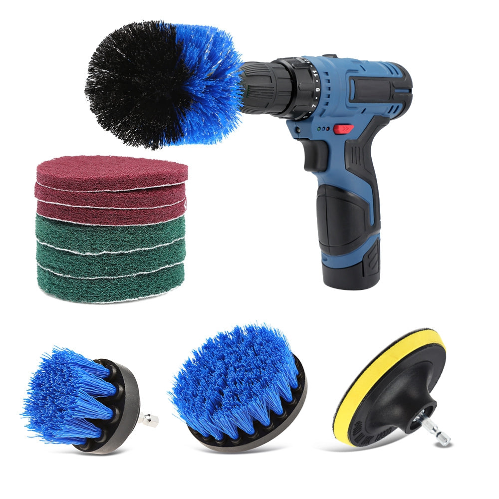 10pcs Drill Brush Scouring Pad Attachments for Bathroom Kitchen Cleaning