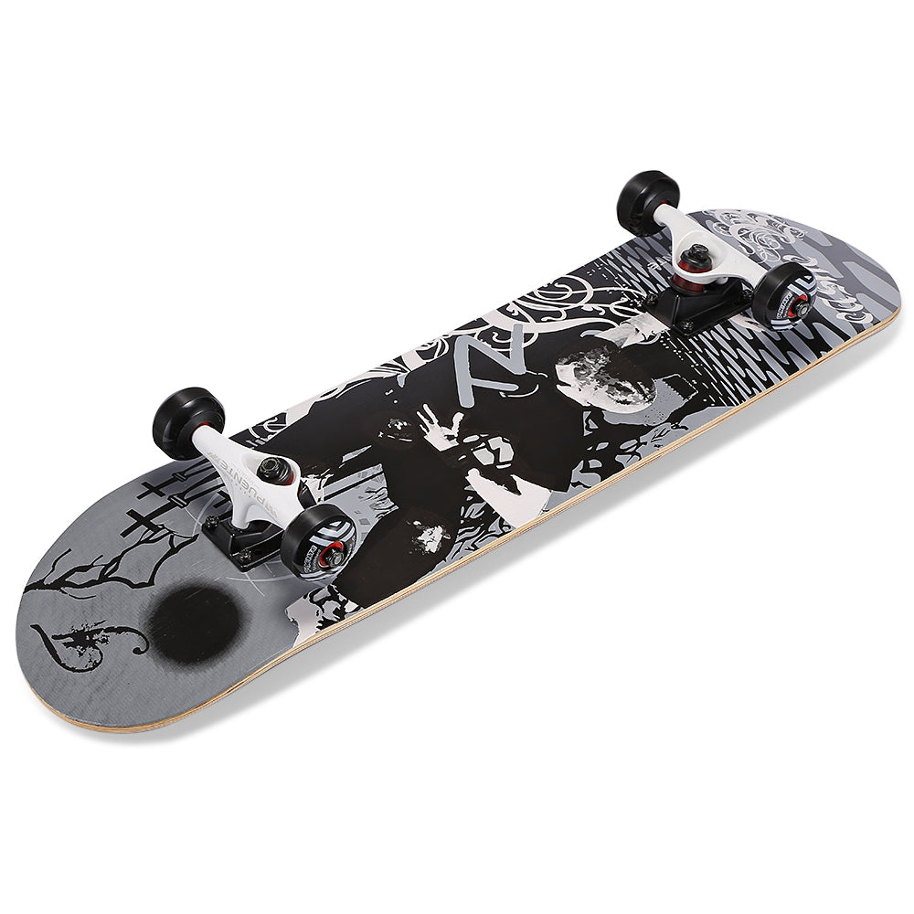 PUENTE 31-inch Skateboard 7-layer Maple Wood Deck with T-shape Tool for Kids / Adults / Beginners