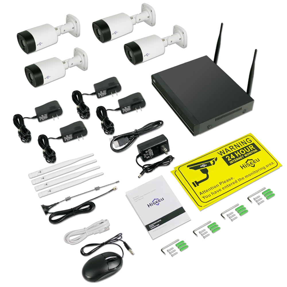 Hiseeu WNKIT - 4HB312 IR-cut Day / Night / Wireless Connection / IP66 Waterproof / 1080P / H.265 4CH 2MP NVR System with Voice