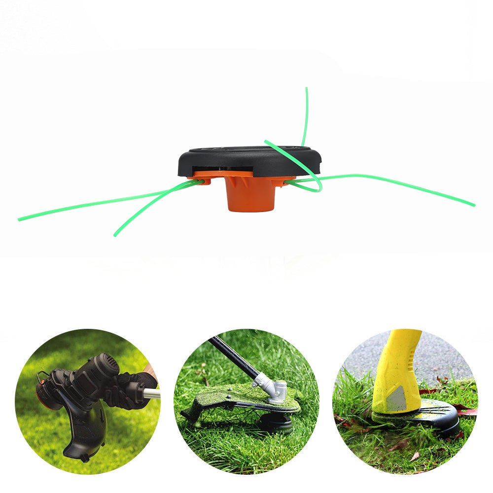 Grass Trimmer Head Nylon Line Cutter with 3 Mowing Rope for Garden Lawnmower Tools Parts
