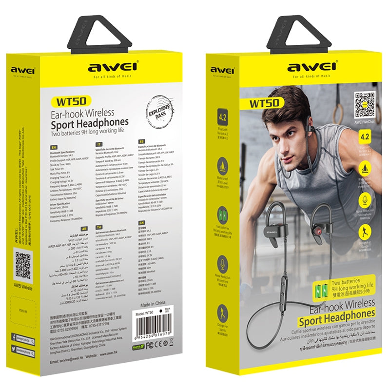 Awei WT50 Sports Long Battery Life IPX4 Bluetooth Earphones Stereo Earbuds with Mic