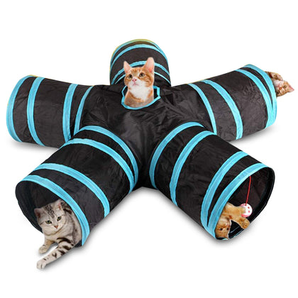 Foldable Cat Tunnel with Balls Collapsible Pet Tube Toy