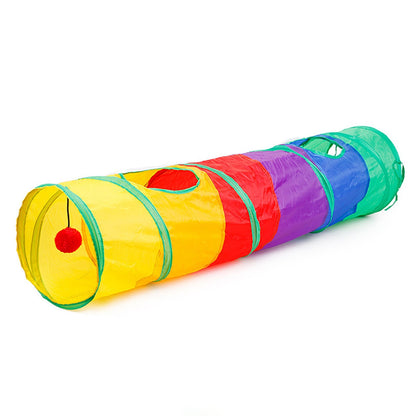 Foldable Rainbow Colored Cat Tunnel with Balls Collapsible Pet Tube Toy