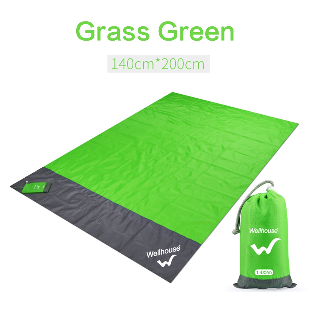 Portable Waterproof Picnic Mat Water Repellent with Windproof Stakes Machine Washable for Camping Spring Outing