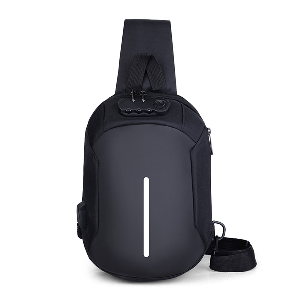 Men Crossbody Chest Bag Anti-theft Password Code Lock USB Charger