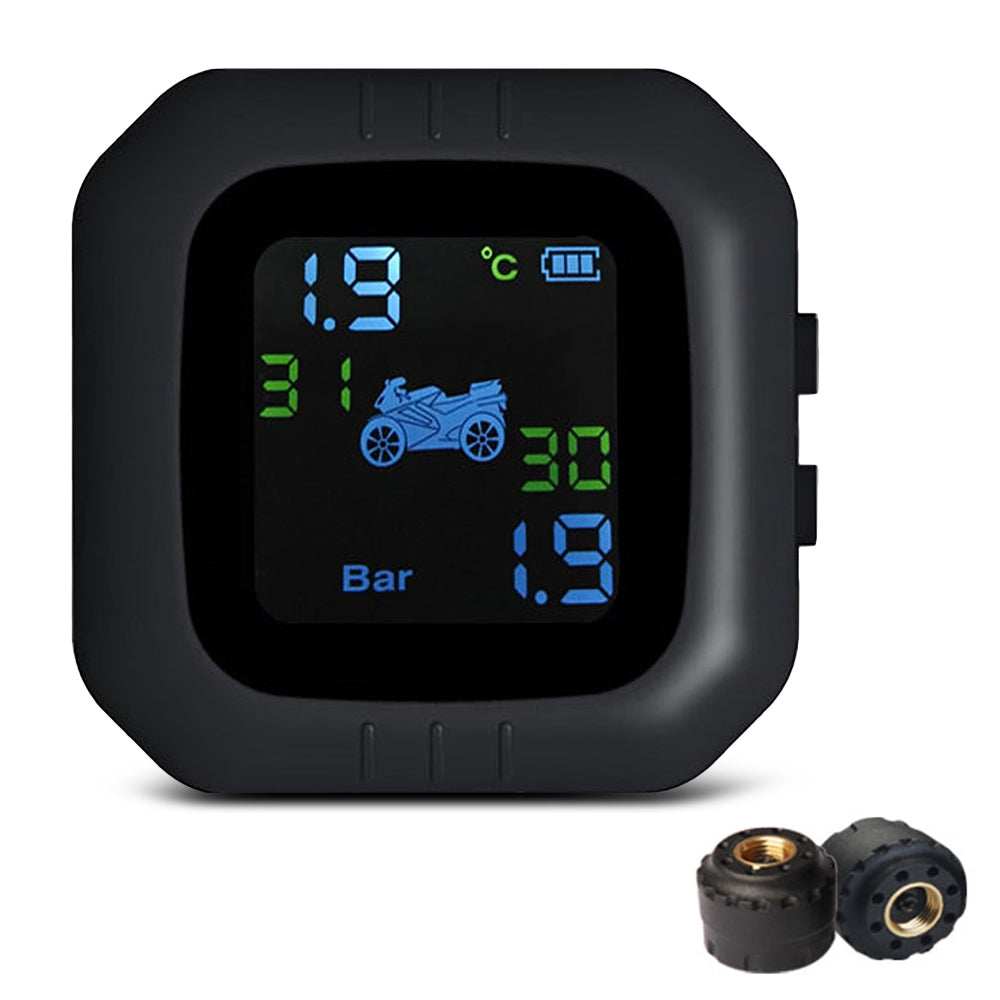 Tire Pressure Monitoring System Motorcycle TPMS Real-time Tester LCD Screen with 2 External Sensors