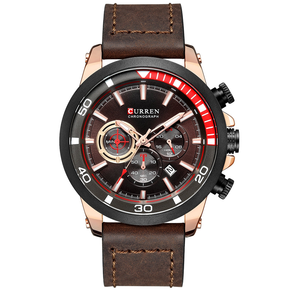CURREN 8310 Men's Watch Six-pin Calendar Leather Waterproof