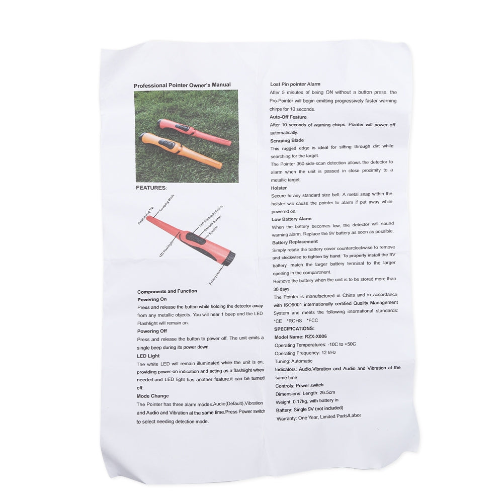 Fully Waterproof Pinpointer Metal Detector