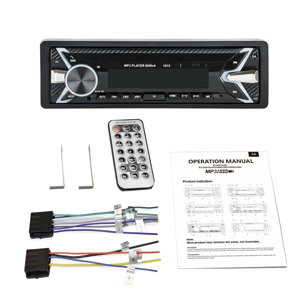 1012 Bluetooth Auto MP3 Player Multimedia System 87.5 - 108.0MHz FM Radio with Remote Controller