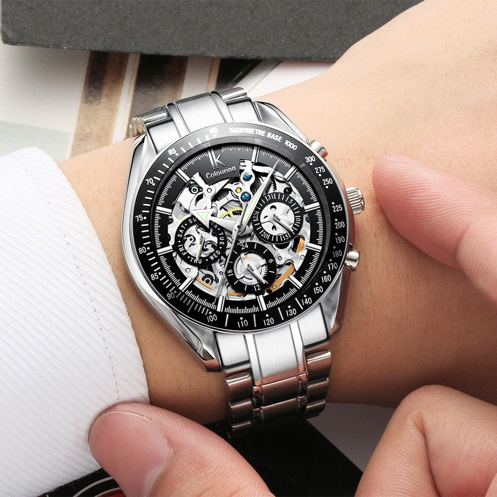 IKcolouring 98005 Fashion Men Automatic Mechanical Watch Hollow Six-pin Waterproof Design