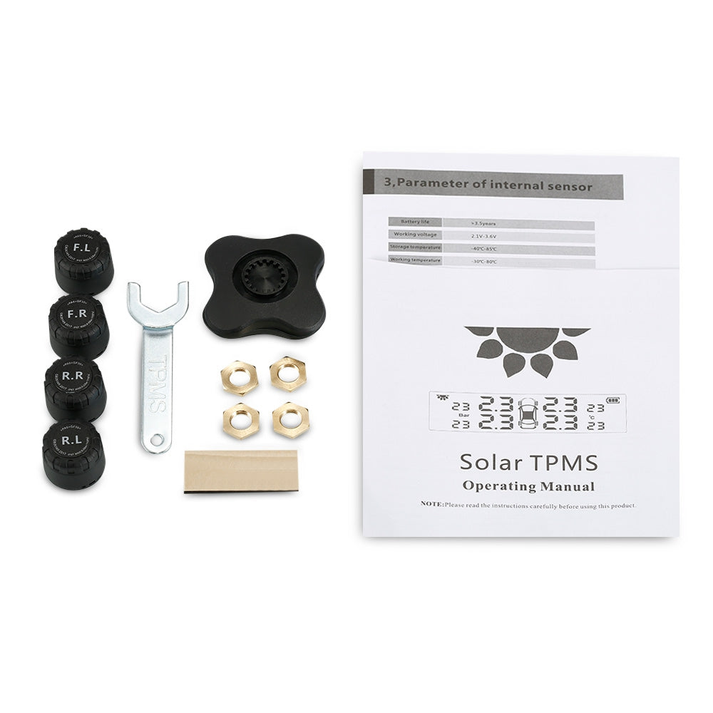 S7 Tire Pressure Monitoring System Solar TPMS Real-time Tester with 4 External / Internal Sensors