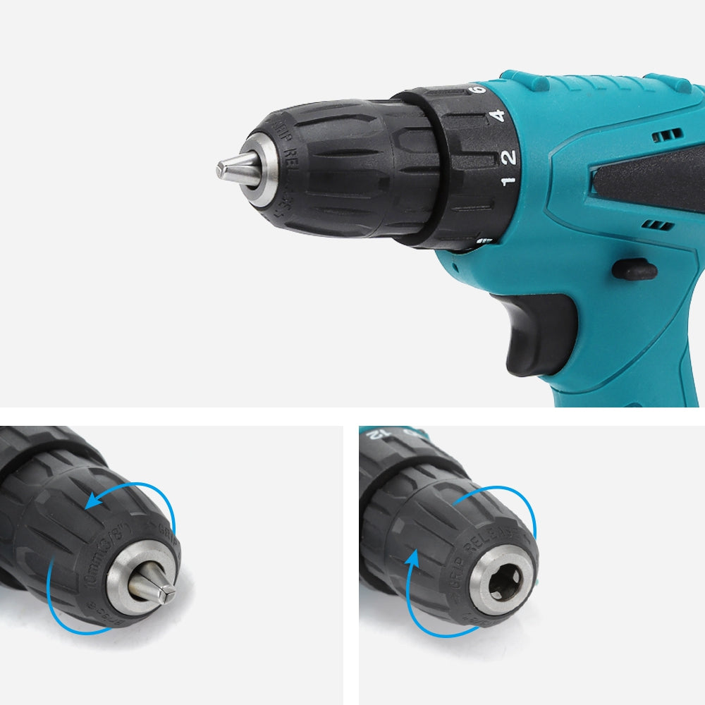 12V Electric Drill Cordless Screwdriver Set with Carrying Case