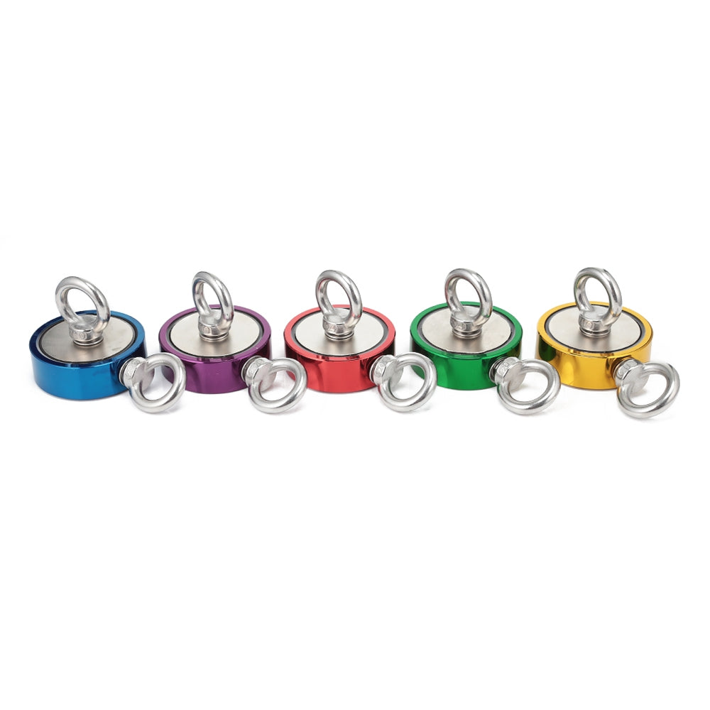 Colored Super Powerful Neodymium Fishing Magnet with 2 Eyebolts