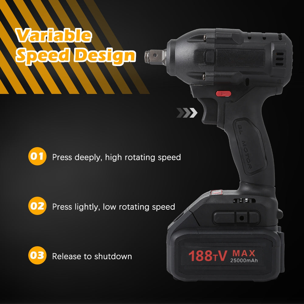 21V 25000mAh Brushless Cordless Electric Impact Wrench Set with Carrying Bag