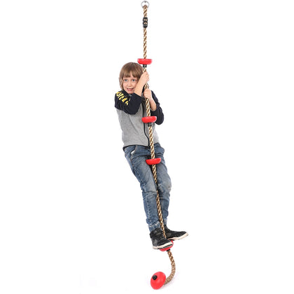 Safety Climbing Rope with Round Platforms Outdoor Play Fun Sports Fitness
