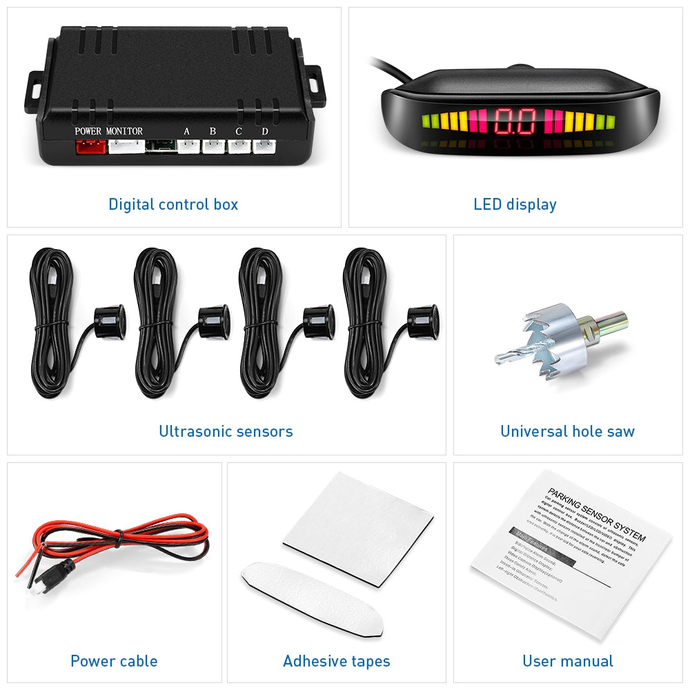 ZEEPIN 129 - B05 Car Parking Radar System 4 Ultrasonic Sensors LED Display Distance Detection 3-color Alarm Sound Alert