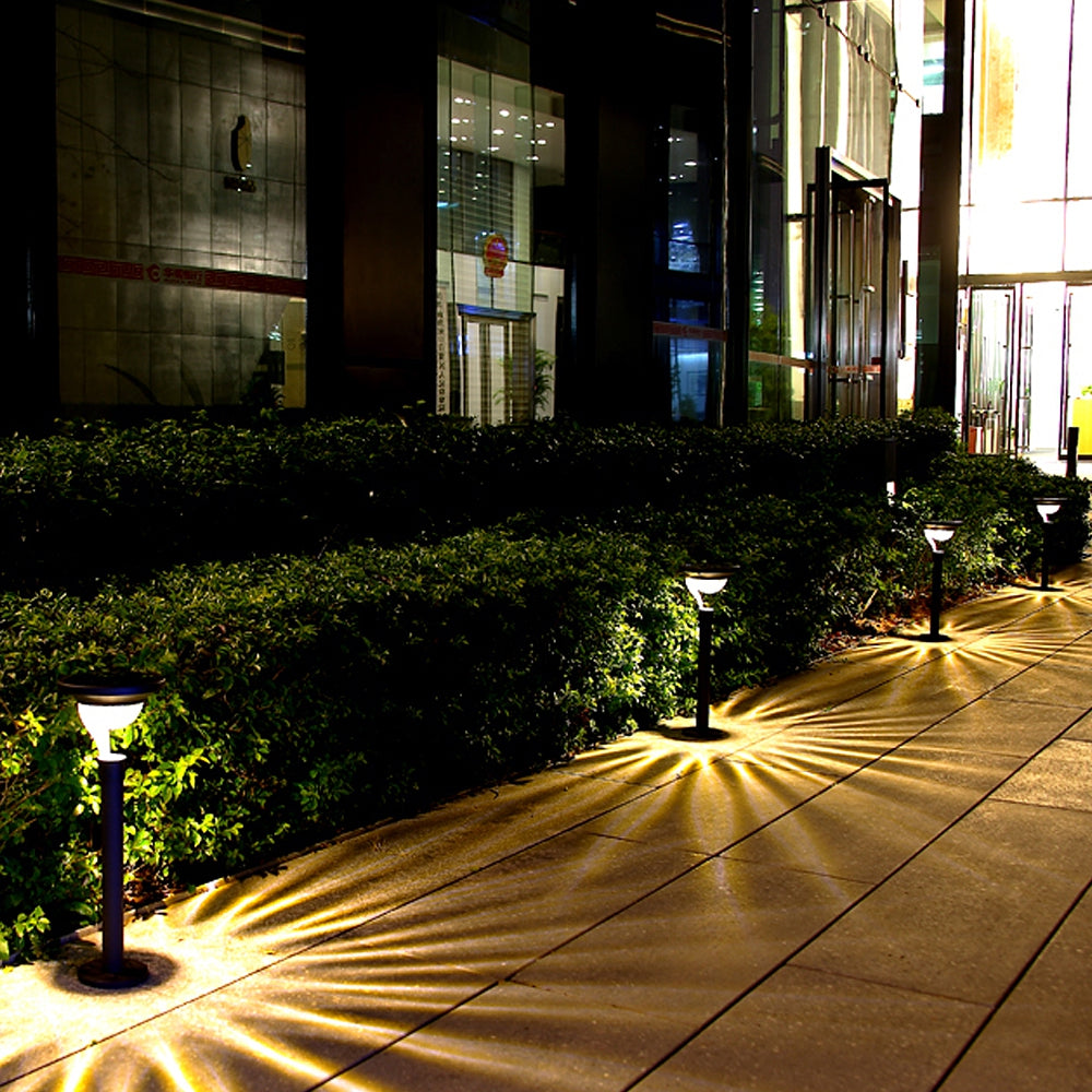 2PCS Warm White Stainless Steel Solar Lawn Light for Garden Landscape Lighting Pathway Stairway