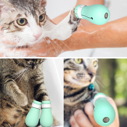 Adjustable Pet Cat Paw Protector Boots For Bath Washing Soft Silicone Anti-Scratch Cat Shoes Cat Grooming Supplies Cat Paw Cover